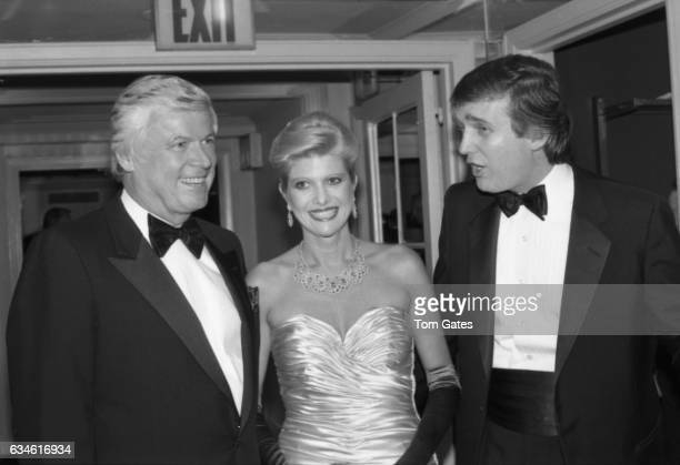 Businessman Donald Trump and his wife Ivana Trump and John Y Brown Jr attend the 90th birrthday celebration of Dr Norman Vincent Peale author of the...