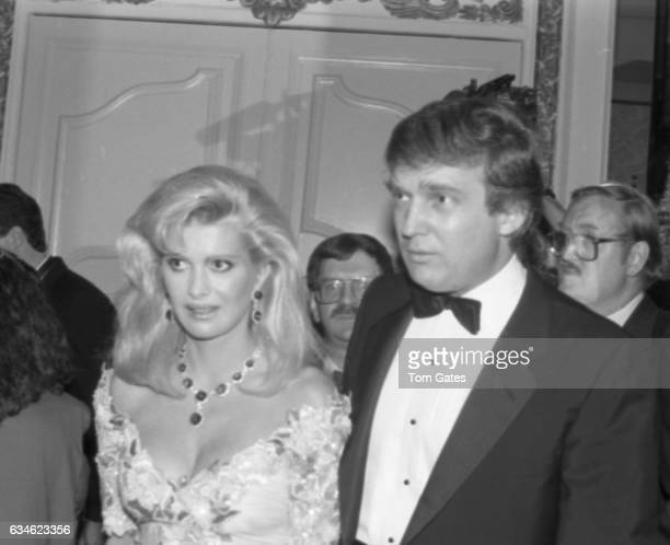 Businessman Donald Trump and his wife Ivana Trump attend the Police Athletic League dinner honoring Donald Trump at the Plaza Hotel in May 1989 in...