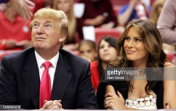 Businessman Donald Trump and his wife Melania Trump attend a Miami Heat NBA game circa 2015 in Miami, Florida.