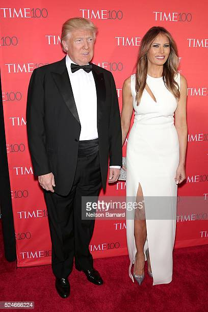 Businessman Donald Trump and Melania Trump attend the 2016 Time 100 Gala at Frederick P. Rose Hall, Jazz at Lincoln Center on April 26, 2016 in New...