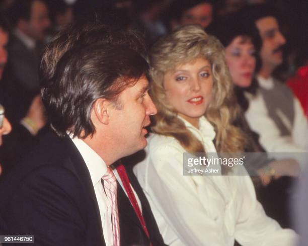 Businessman Donald Trump and Mistress Marla Maples ringside at Tyson vs Spinks Convention Hall in Atlantic City New Jersey June 27 1988