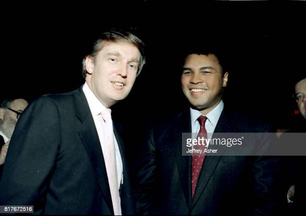 Businessman Donald Trump and Muhammad Ali at Tyson vs Holmes Convention Hall in Atlantic City New Jersey January 22 1988