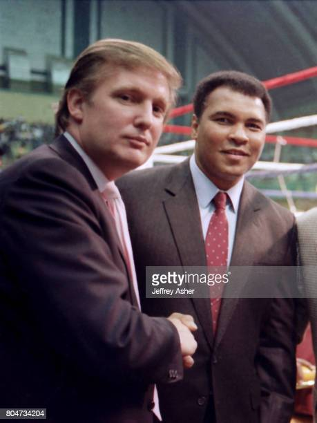 Businessman Donald Trump and Muhammad Ali ringside at Tyson vs Holmes Convention Hall in Atlantic City New Jersey January 22 1988