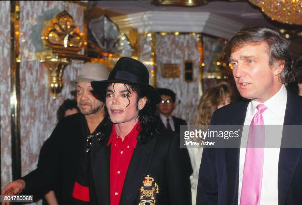 Businessman Donald Trump and pop star Michael Jackson at the opening of the Taj Mahal Casino Hotel in Atlantic City New Jersey April 2 1990