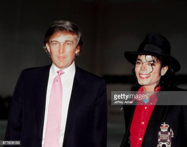 Businessman Donald Trump and Pop Star Michael Jackson at The Taj Mahal Casino Hotel in Atlantic City New Jersey April 2nd 1990