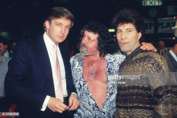 Businessman Donald Trump and Professional Wrestler Lou Albano with Son ringside at Tyson vs Holmes Convention Hall in Atlantic City New Jersey...