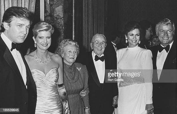 Businessman Donald Trump and wife Ivana author Norman Vincent Peale and wife Ruth Peale Phyllis George and Governor John Brown attend 90th Birthday...