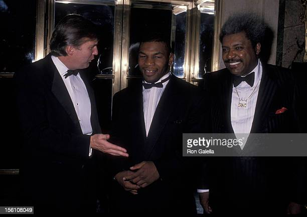 Businessman Donald Trump athlete Mike Tyson and Boxing Promoter Don King attend Gourmet Gala Benefiting March of Dimes on November 21 1989 at the...