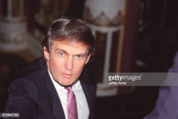 Businessman Donald Trump behind the scenes at Tyson vs Williams Convention Hall in Atlantic City New Jersey July 21 1989