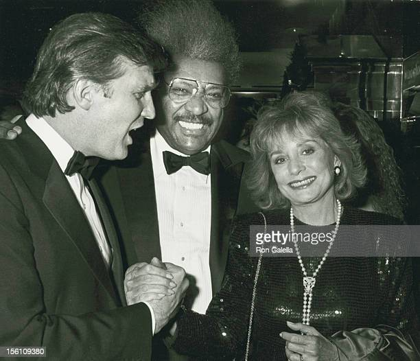 Businessman Donald Trump, boxing promoter Don King and journalist Barbara Walters attend the book party for Donald Trump 'The Art of the Deal' on...