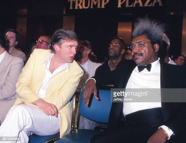Businessman Donald Trump chatting it up with Promoter Don King at Tyson vs Spinks Convention Hall in Atlantic City, New Jersey June 27 1988.