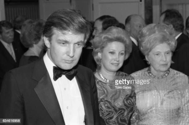 Businessman Donald Trump his sister Maryanne Trump Barry and his mother Mary Anne MacLeod Trump attend the 90th birrthday celebration of Dr Norman...