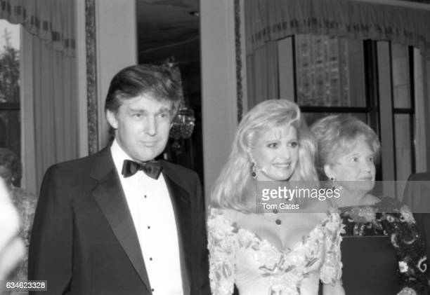 Businessman Donald Trump his wife Ivana Trump and his mother Mary Anne Trump MacLeod attend the Police Athletic League dinner honoring Donald Trump...
