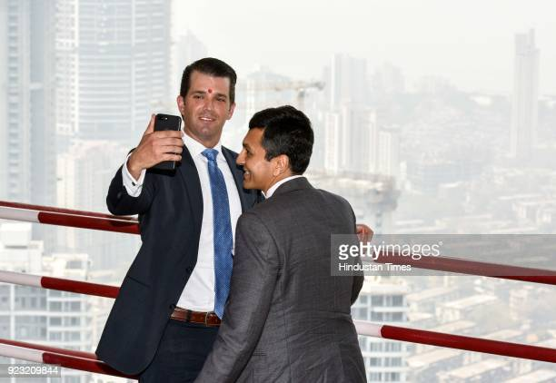 Businessman Donald Trump Junior Executive VicePresident Trump Organization along with Abhishek Lodha Managing Director Lodha Group during the...