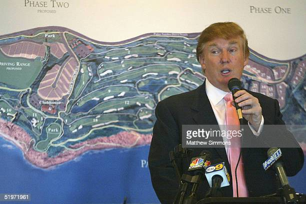 Businessman Donald Trump speaks at the groundbreaking of The Trump National Golf Club on January 14 2005 in Rancho Palos Verdes California The golf...