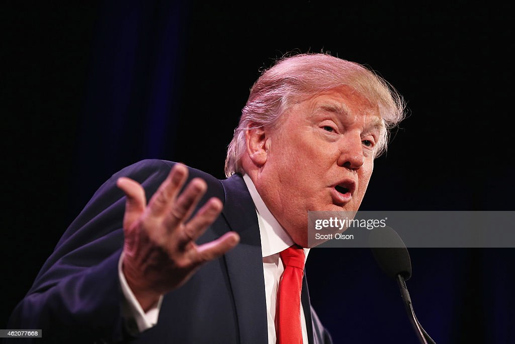 Businessman Donald Trump speaks to guests at the Iowa Freedom Summit on January 24, 2015 in Des Moines, Iowa. The summit is hosting a group of potential 2016 Republican presidential candidates to discuss core conservative principles ahead of the January 2016 Iowa Caucuses.