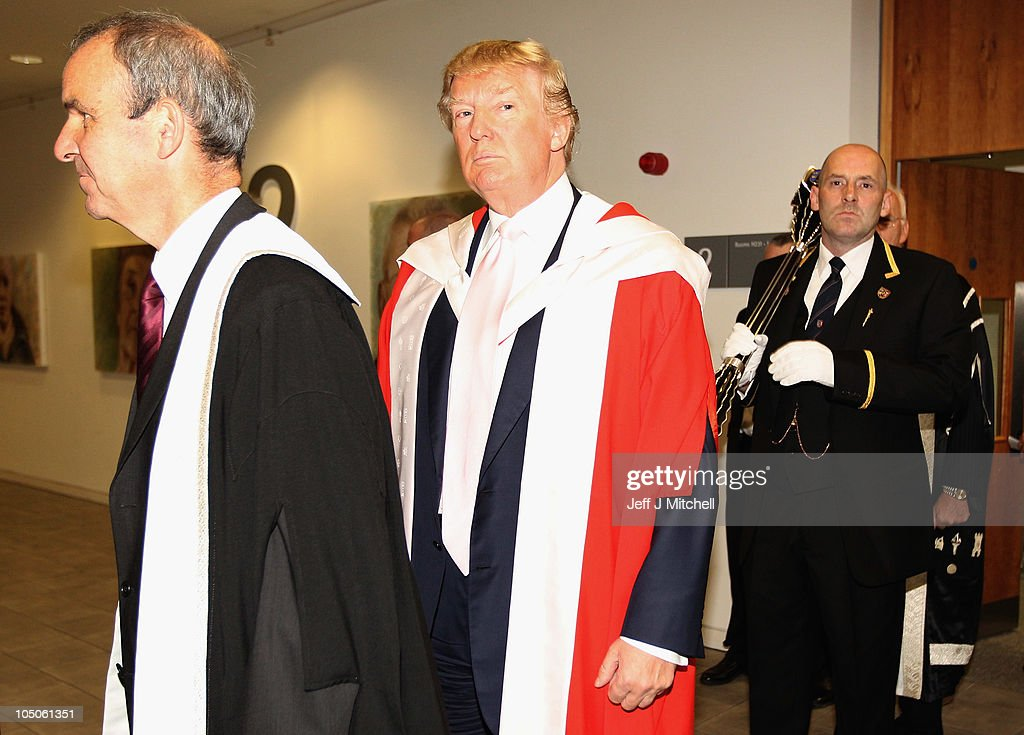 US businessman Donald Trump, stands in his ceremonial robes before recieving his honourary award of Doctor of Business Administration from Robert Gordon University on October 8, 2010 in Aberdeen, Scotland. Mr Trump is currently building a golf development at the Menie Eastate outside Aberdeen..