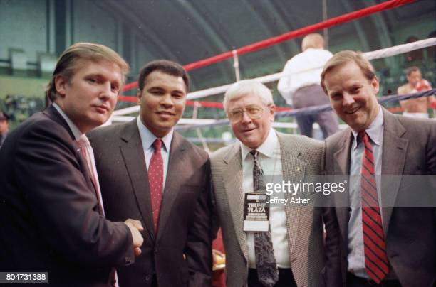 Businessman Donald Trump with Boxer Muhammad Ali and Governor Thomas H Kean at Tyson vs Holmes Convention Hall in Atlantic City New Jersey January 22...