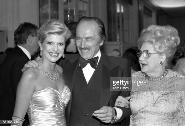 Businessman Donald Trump's wife Ivana Trump his father Fred Trump laughs and his mom Mary Anne Trump MacLeod attend the 90th birrthday celebration of...