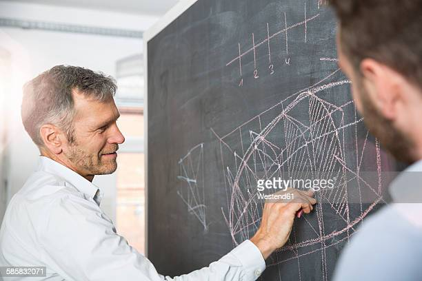 Businessman drawing at blackboard with colleague watching