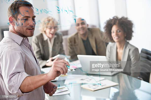 Businessman drawing graph in meeting