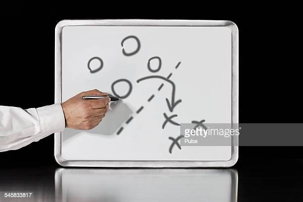 Businessman drawing on whiteboard.