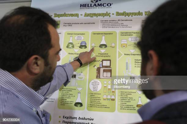 A businessman explains to a visitor the evaporation procedure for marijuana at the 1st International Cannabis Expo at the Faliro Sports Pavilion in...