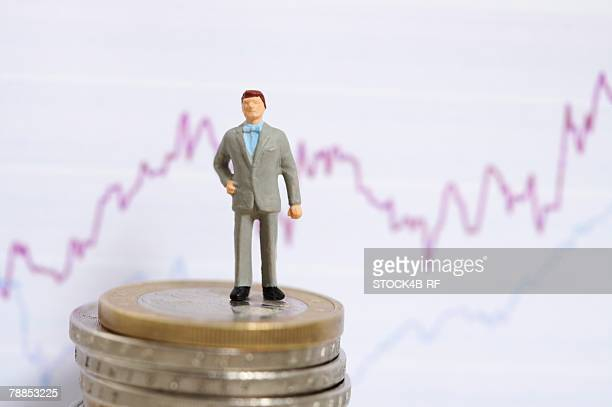 Businessman figurine on a stack on coins, line graph in background