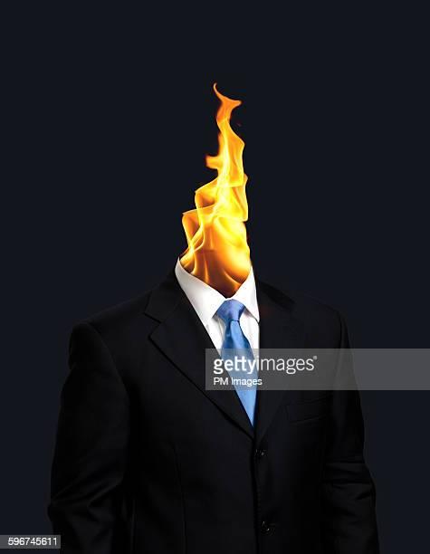 Businessman fire head
