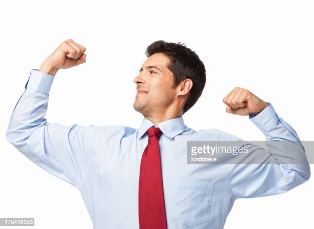 Businessman Flexing His Muscles - Isolated