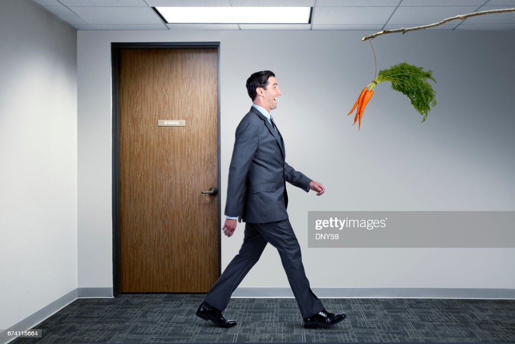 Businessman Following Dangling Carrot In Office : Stock Photo