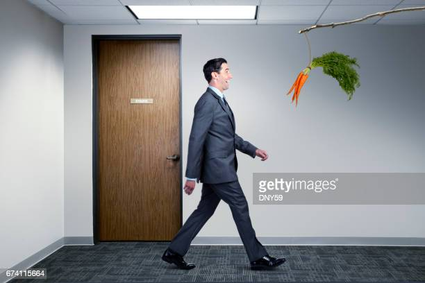 Businessman Following Dangling Carrot In Office