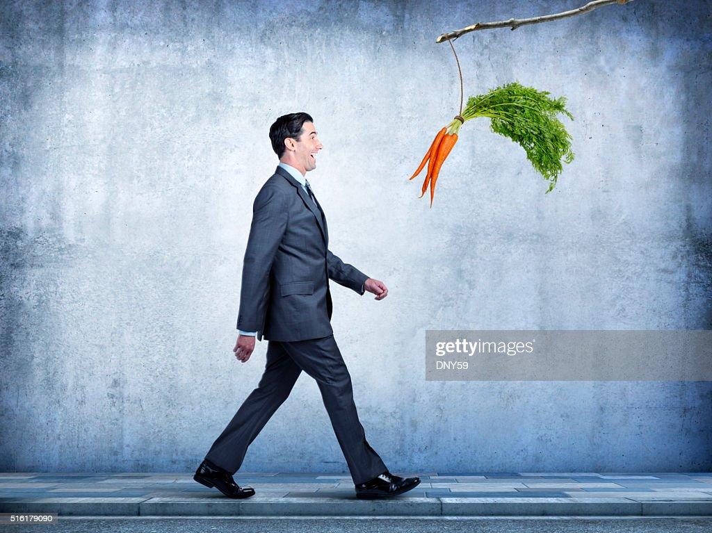 Businessman Follows Carrots Dangling From A Stick : Stock Photo