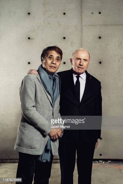 Businessman François Pinault and architect Tadao Ando pose for a portrait on April 11 2019 in Paris France