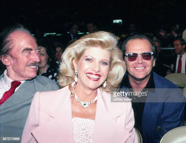 Businessman Fred Trump with Ivana Trump and Actor Jack Nicholson ringside at Tyson vs Holmes Convention Hall in Atlantic City New Jersey January 22...