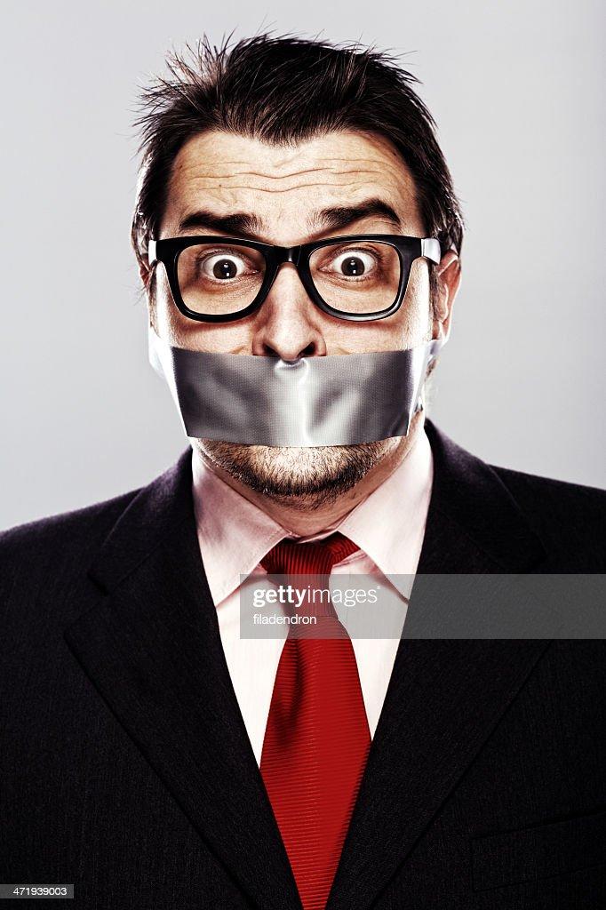 Businessman gagged : Stock Photo