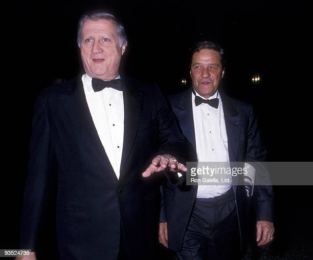 Businessman George Steinbrenner and William Fugazy attend the birthday party for Mike Wallace on May 11 1988 at Mortimer's Restaurant in New York City