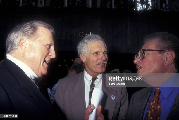 Businessman George Steinbrenner Ted Turner and television personality Larry King attend Summer Goodwill Games on July 17 1997 at Rockefeller Plaza in...