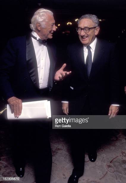 Businessman Gianni Agnelli and American diplomat Henry Kissinger attend the Elie Wiesel Foundation for Humanity's Humanitarian Award Salute to HM...