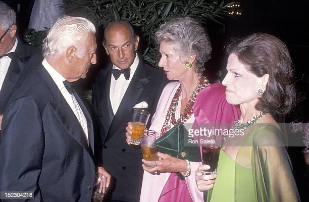 Businessman Gianni Agnelli and wife Marella Agnelli and fashion designer Oscar de la Renta and wife Annette Reed attend Malcolm Forbes' 70th Birthday...