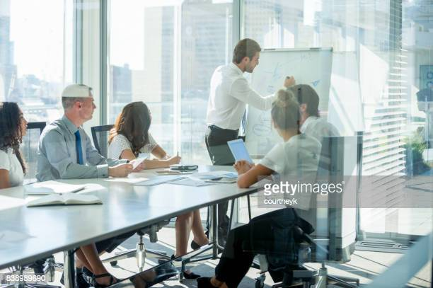 Businessman giving a presentation to his team.