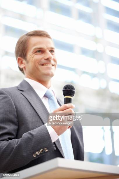 Businessman Giving a Speech