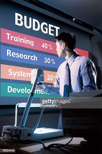 businessman giving financial presentation - overheadprojector stockfoto's en -beelden