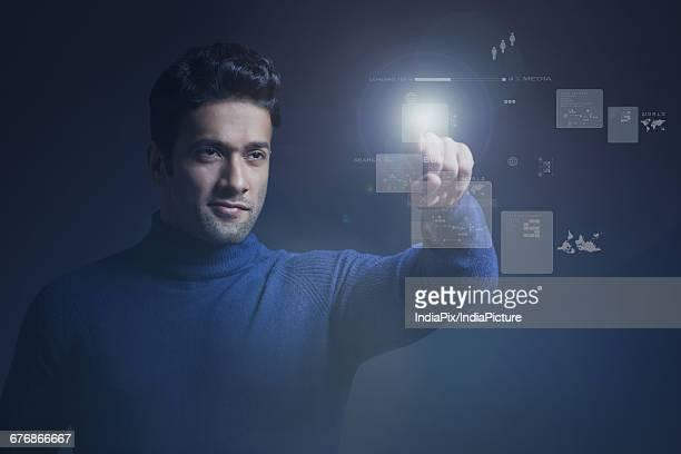 Businessman giving high tech presentation