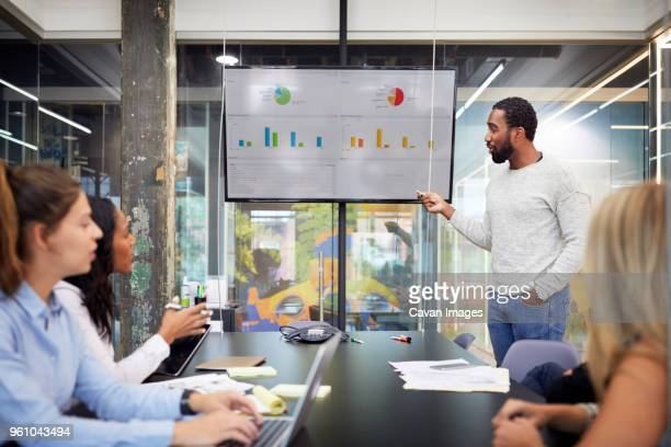 Businessman giving presentation during meeting in board room