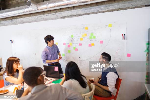 businessman giving presentation in modern co-working space - skill stock pictures, royalty-free photos & images