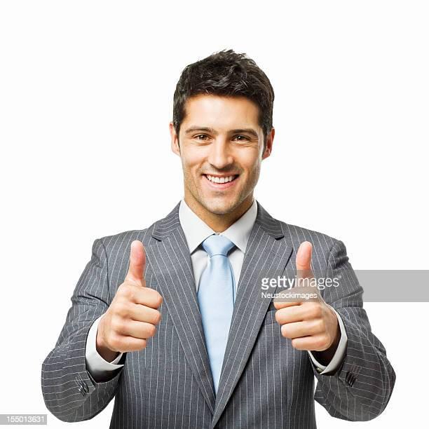 Homem de negócios com os dois polegares para cima-isolado