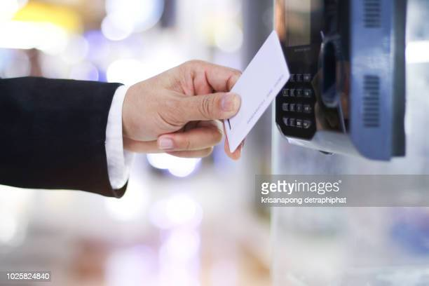 businessman hand scanning finger on machine,technology concept, business concept, - accessibility stock pictures, royalty-free photos & images