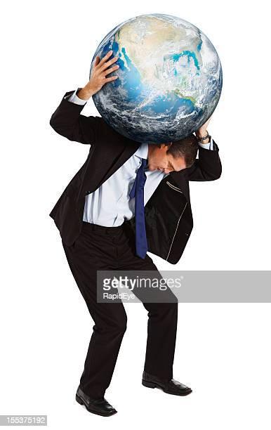 Empresário tem o resto do mundo em seu Ombro