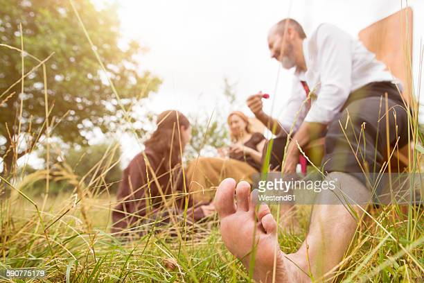 Businessman having a break on organic farm